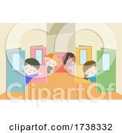 Kids School Hall Peek Doors Illustration
