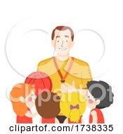 Kids Girls Boys Basketball Coach Talk Illustration