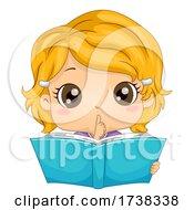 Kid Girl Silent Finger Reading Book Illustration