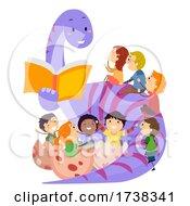 Poster, Art Print Of Stickman Kids Dinosaur Book Illustration