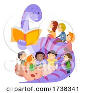 Stickman Kids Dinosaur Book Illustration