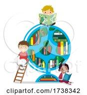 Poster, Art Print Of Stickman Kids Geography Books Globe Illustration