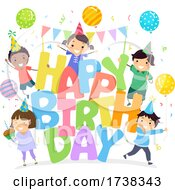 Stickman Kids Happy Birthday Illustration