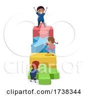 Poster, Art Print Of Stickman Kids Math Operators Climb Illustration
