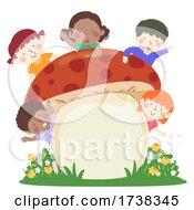 Kids Mushroom Board Wave Flowers Illustration