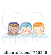 Kids Swimmers Wear Goggles Swim Cap Illustration