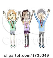 Kids Hands Up Medals Achievers Illustration