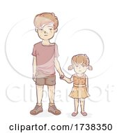 Poster, Art Print Of Kids Siblings War Victims Hold Hands Illustration