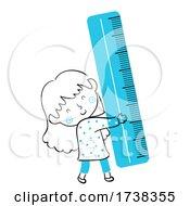 Poster, Art Print Of Kid Girl Doodle Blue Ruler Illustration