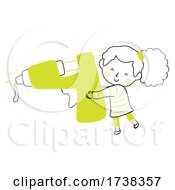Kid Girl Doodle Glue Gun Illustration
