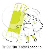 Kid Girl Doodle Glue Stick Illustration