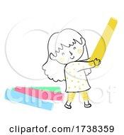 Poster, Art Print Of Kid Girl Doodle Hold Colored Chalk Illustration