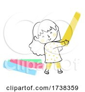 Kid Girl Doodle Hold Colored Chalk Illustration