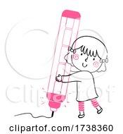Poster, Art Print Of Kid Girl Doodle Mechanical Pencil Illustration