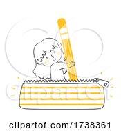 Poster, Art Print Of Kid Girl Doodle Pencil Case Pouch Bag Illustration