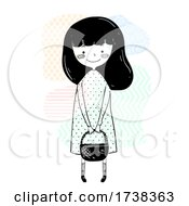 Girl Doodle Carry Basket Illustration