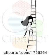 Girl Doodle Climb Ladder Illustration