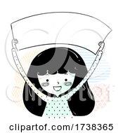 Poster, Art Print Of Girl Doodle Hold Blank Banner Illustration