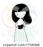 Poster, Art Print Of Girl Doodle Hold Read Small Book Illustration
