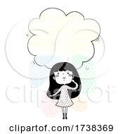 Poster, Art Print Of Girl Doodle Look Up Cloud Think Illustration
