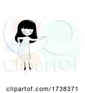 Poster, Art Print Of Girl Doodle Show Space Left Side Illustration