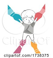 Doodle Kid Boy Pulled Various Hands Illustration