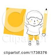 Poster, Art Print Of Kid Boy Doodle Blank Paper Pencil Illustration