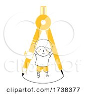 Kid Boy Doodle Drawing Compass Illustration