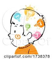 Poster, Art Print Of Kid Boy Doodle Ideas In Head Illustration