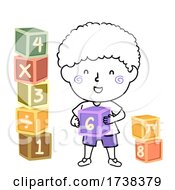 Kid Boy Doodle Math Blocks Illustration