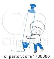 Poster, Art Print Of Kid Boy Doodle Mechanical Blue Pen Illustration