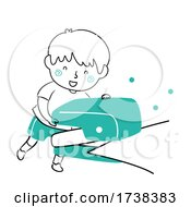 Poster, Art Print Of Kid Boy Doodle Puncher Paper Holes Illustration