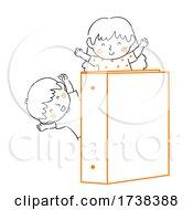 Poster, Art Print Of Kids Doodles Wave Orange Binder Illustration