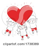 Kids Doodle Big Red Bright Heart Illustration