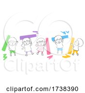 Poster, Art Print Of Kids Doodle Colorful Chalks Illustration