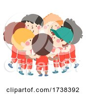 Kids Boys Basketball Hug Huddle Illustration