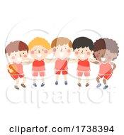 Kids Boys Basketball Plan Huddle Illustration
