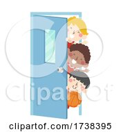 Kids Boys Basketball Team Peek Door Illustration