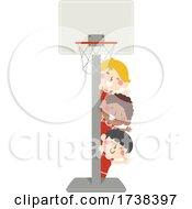 Boys Around A Basketball Hoop