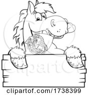 Black And White Horse With A Rose Boquet Over A Sign