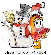 Clipart Picture Of A Traffic Cone Mascot Cartoon Character With A Snowman On Christmas by Toons4Biz