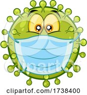 03/04/2021 - Cartoon Covid Coronavirus Wearing A Mask