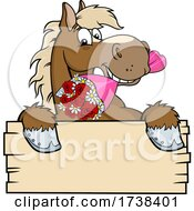 Sweet Horse With A Rose Boquet Over A Sign