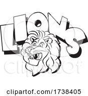03/02/2021 - Black And White Lion Mascot Head And Text