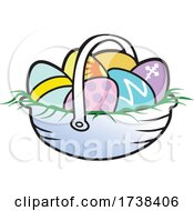 03/02/2021 - Cartoon Easter Basket With Colorful Eggs