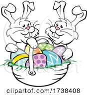 Cartoon Easter Basket With Bunnies