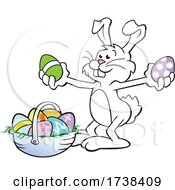 Cartoon Easter Bunny With A Basket With Colorful Eggs