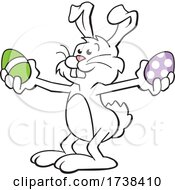 Cartoon Easter Bunny Holding Colorful Eggs