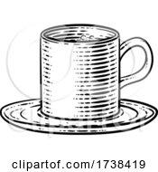 Coffee Tea Cup Hot Drink Mug Woodcut Etching