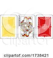 Poster, Art Print Of Playing Card Joker And Back Red Yellow And Black
